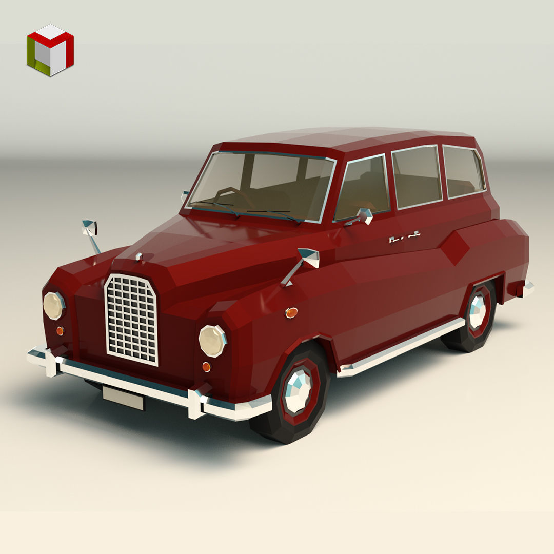 Low Poly Sedan Car 10