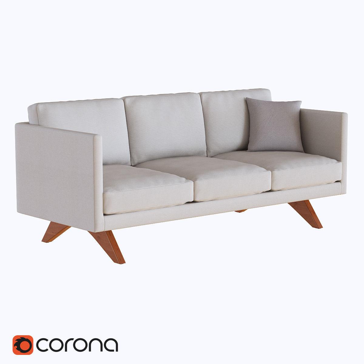west elm brooklyn upholstered sofa 3d model max fbx 1 ...