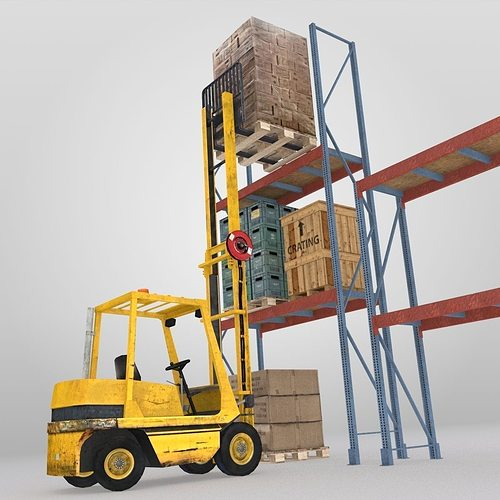 forklift and cargo 3d model low-poly max obj mtl 3ds fbx ma mb blend 1