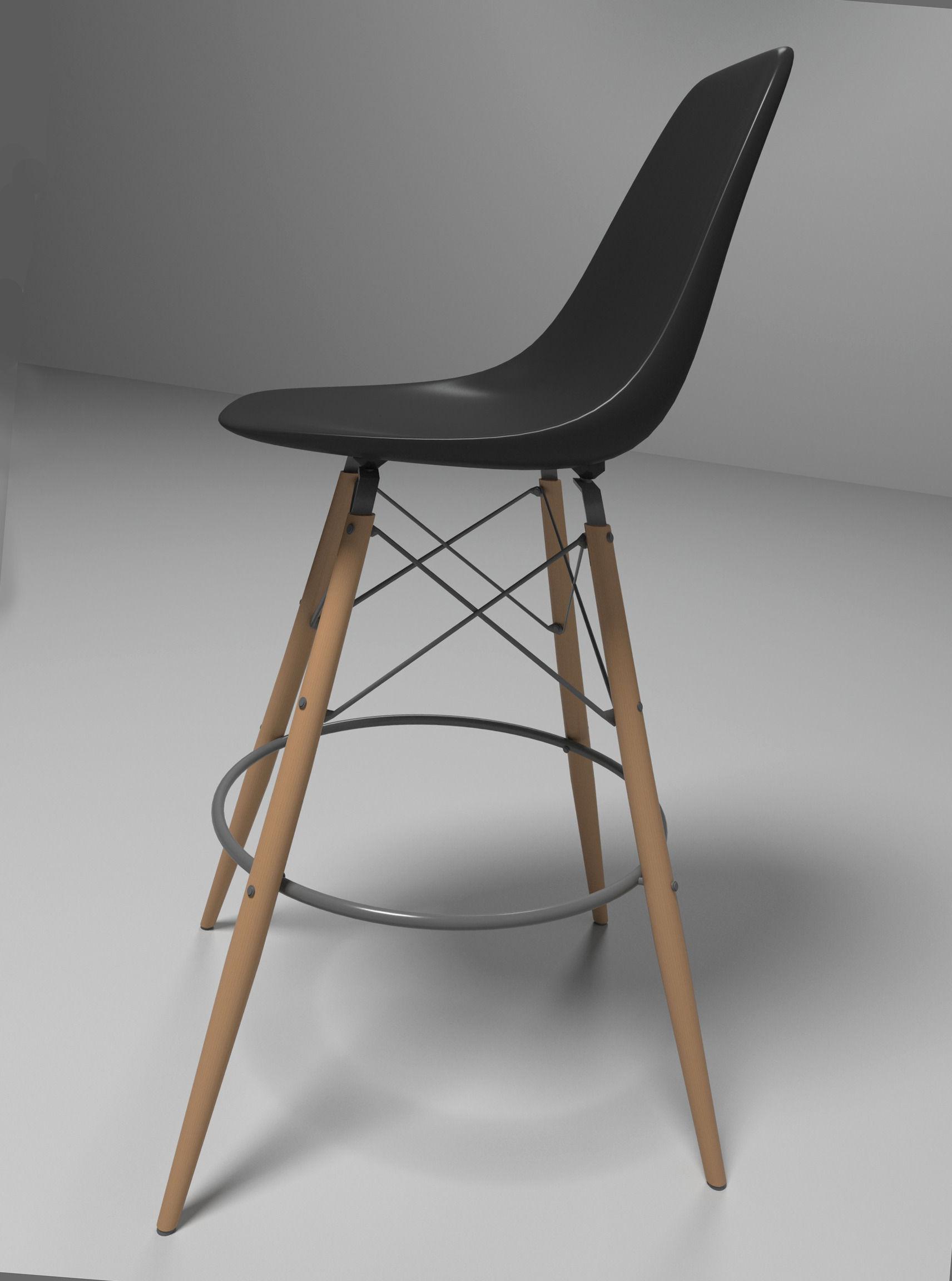 eames bar chair d model max obj ds fbx mtl -  eames bar chair d model max obj ds fbx mtl