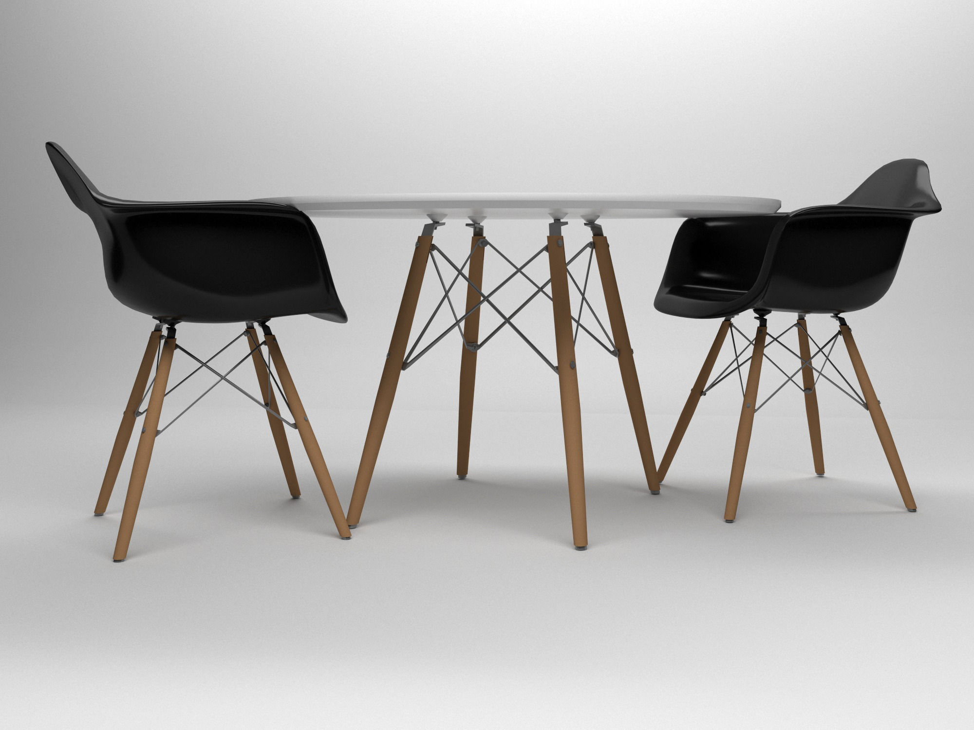 3D model Eames table and chairs set