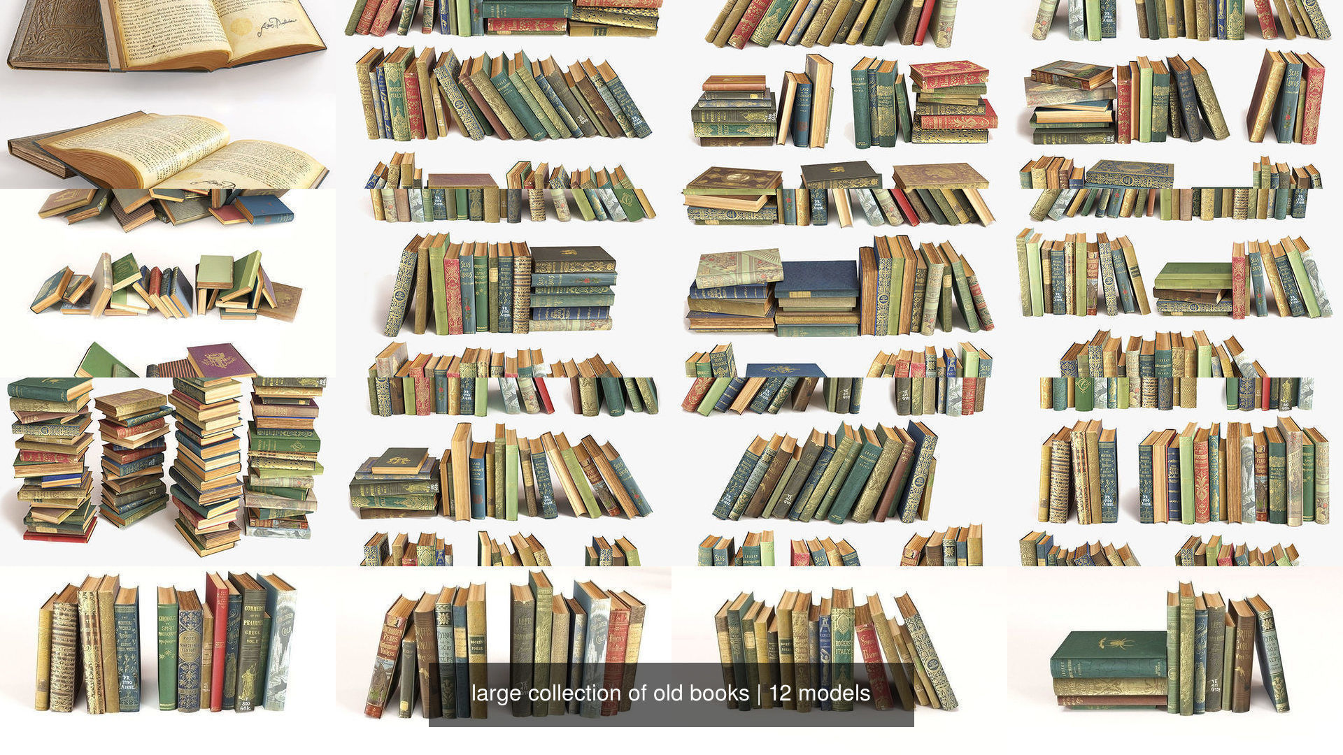 large collection of old books