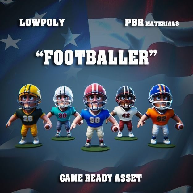 Low Poly American Footballer PBR