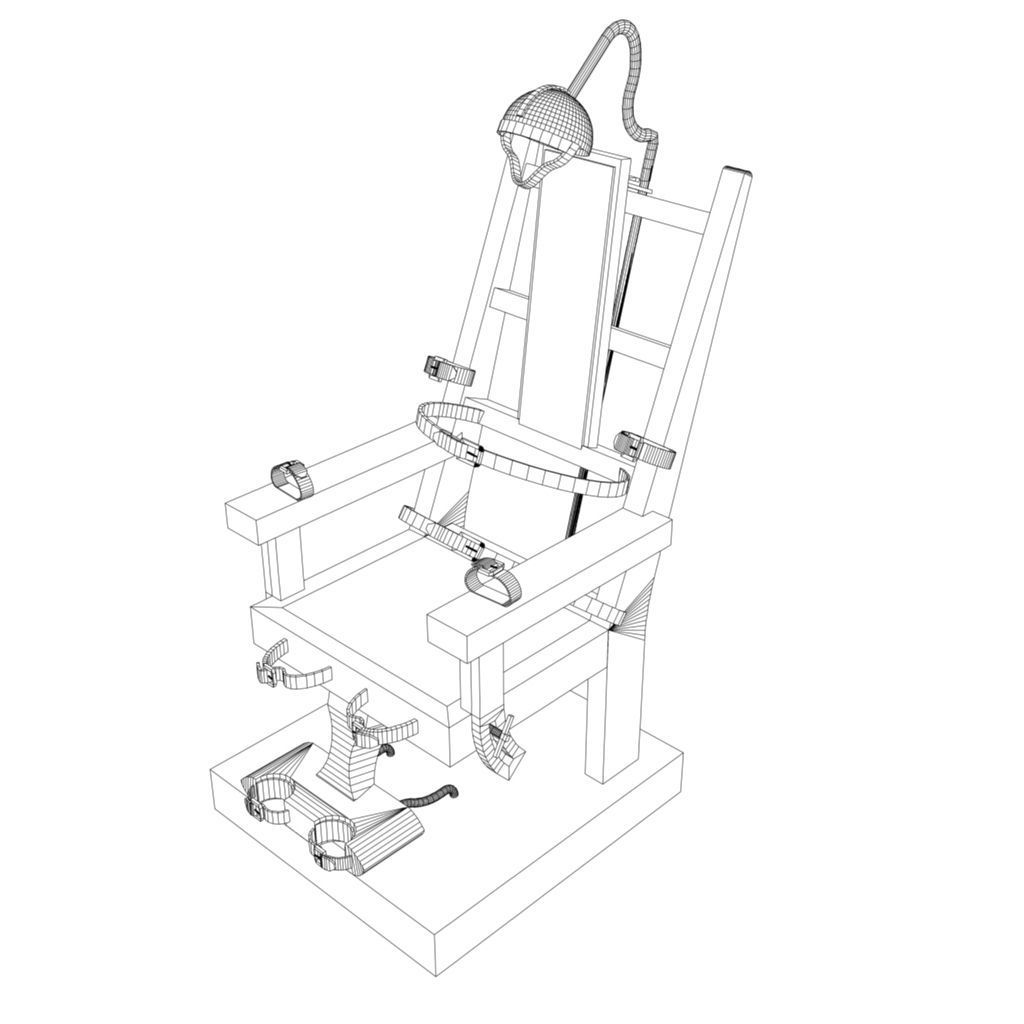 3d model electric chair vr    ar    low