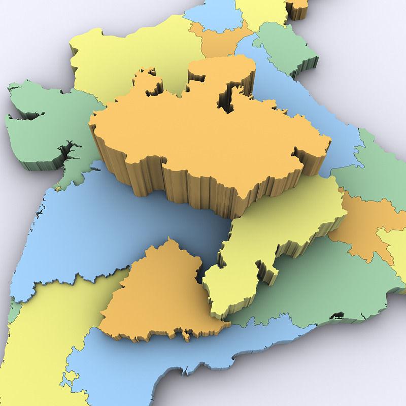 Map Of India 3D Model MAX OBJ 3DS MTL TGA