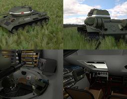 t-34-85 with interior hdri 3d model obj fbx stl blend dae