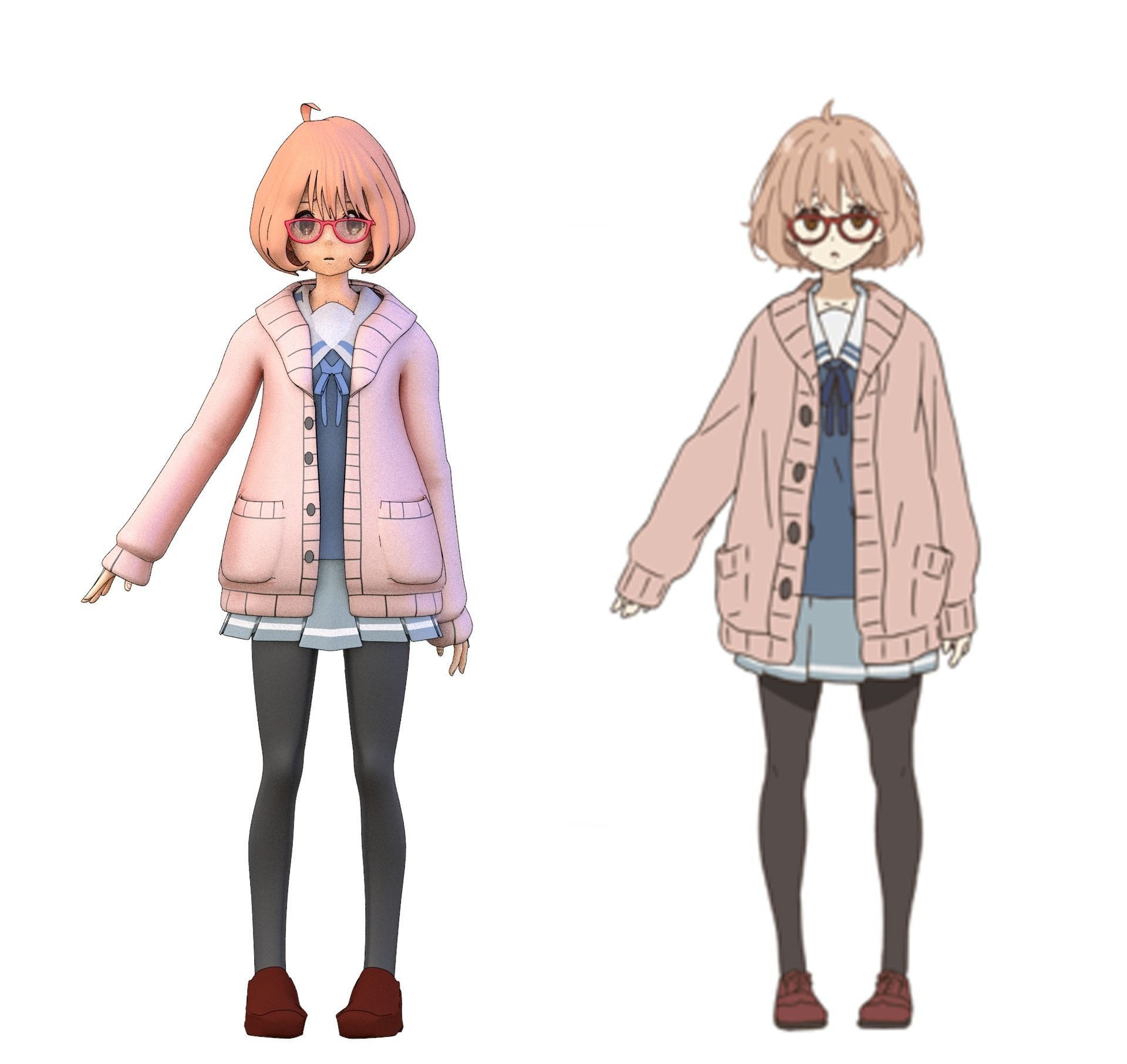 2d Modeling Online Mirai From Kyoukai No Kanata Free 3d Model Rigged Blend