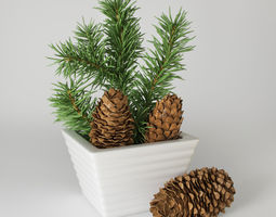 3d model christmas fir branches and cones