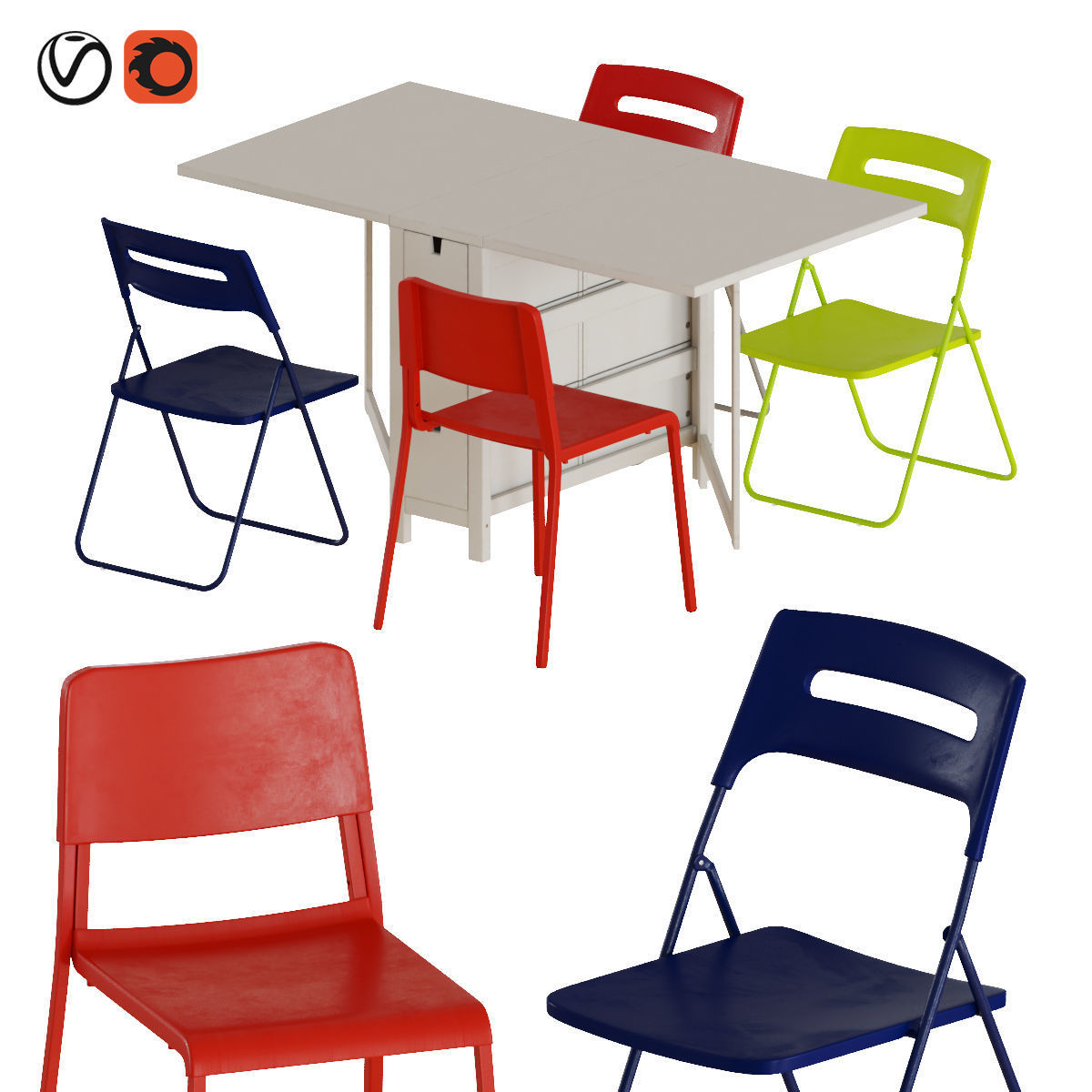 Norden Gateleg Table And Chairs 2 3d Cgtrader