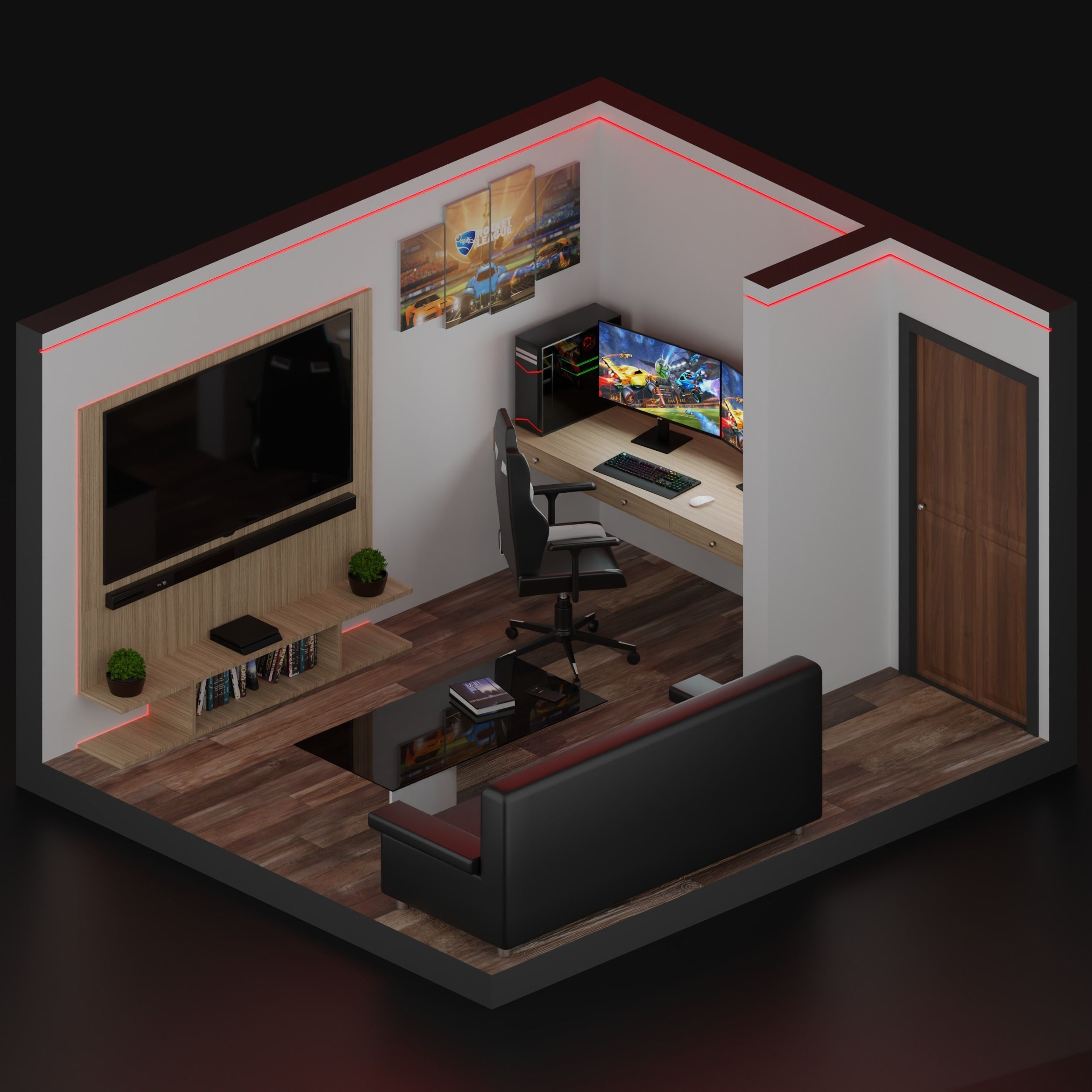 3d Asset Realistic Low Poly Gaming Room Cgtrader With 1:1 furniture from real brands. realistic low poly gaming room 3d model