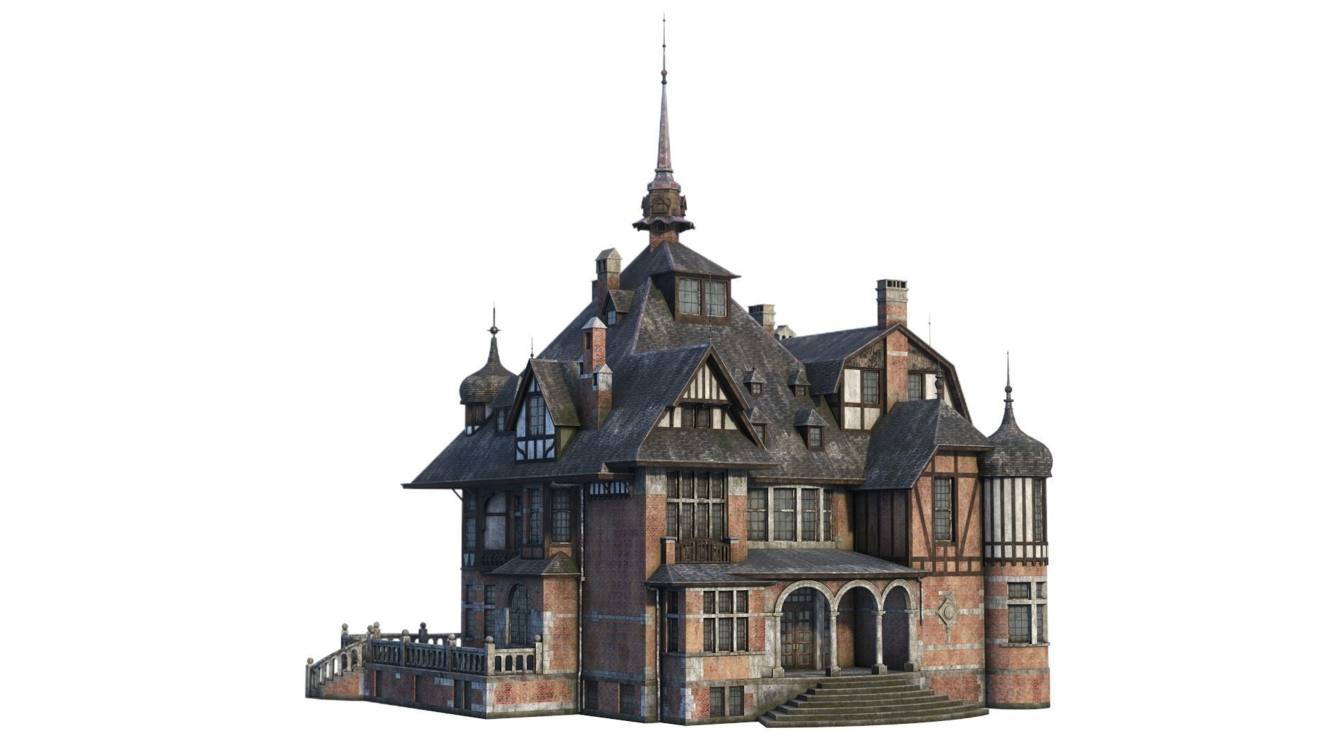 Old Manor Low-poly 3D model