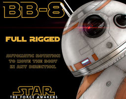 3d model bb-8 star wars droid full rigged animated