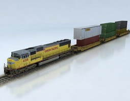 3d model realtime double stack shipping container train set sd70m