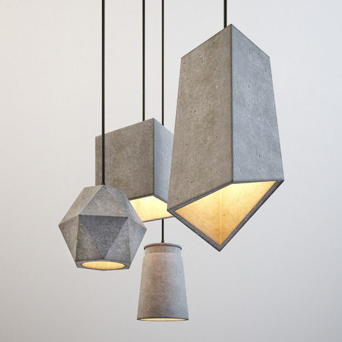 Hanging Ceiling Light 3d Autocad Model: Modern Cement Lights 3D Model
