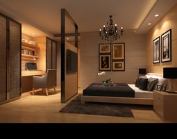 room Comfortable Bed Room 3D model
