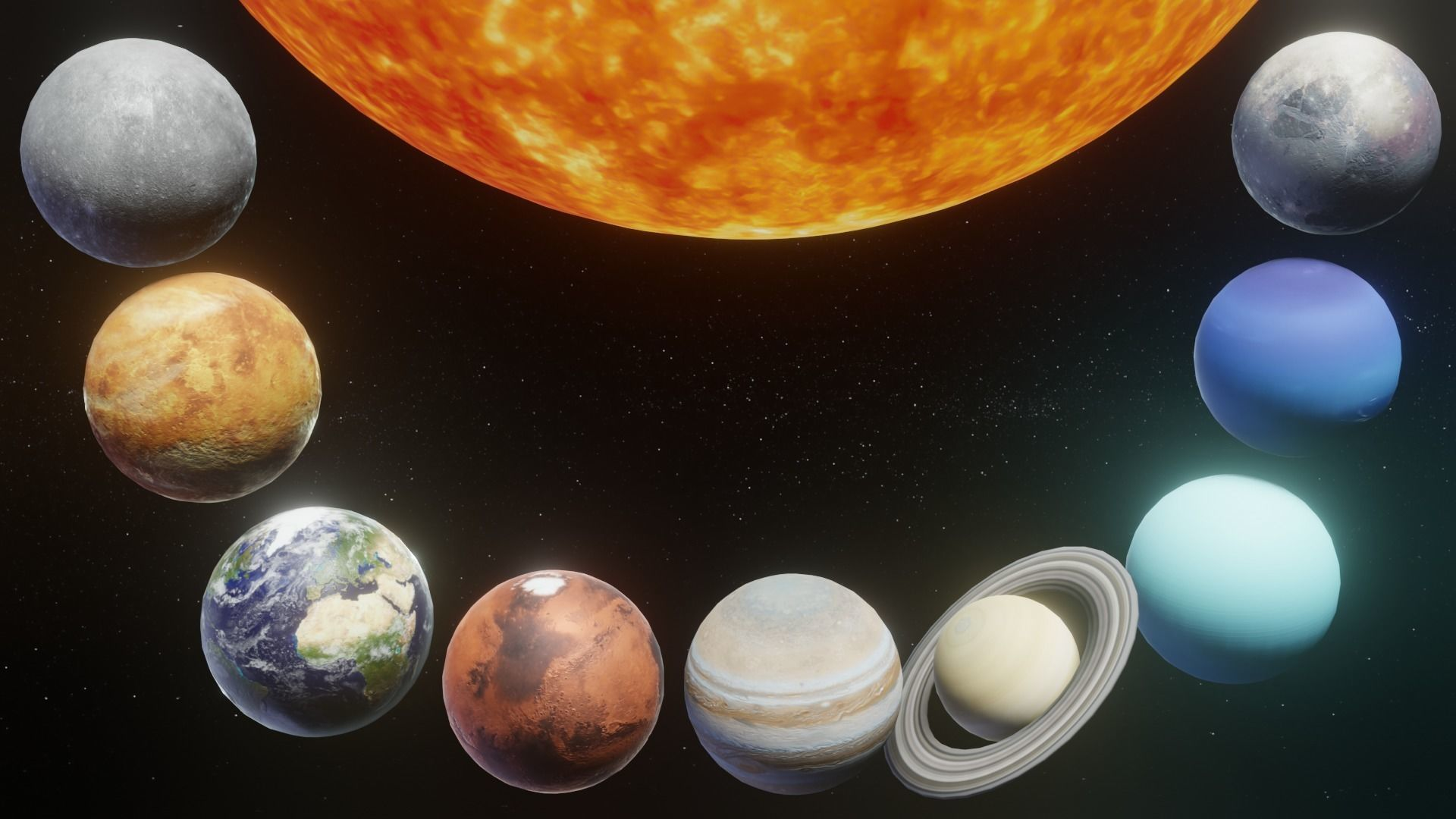 Photorealistic Solar System 3D Model