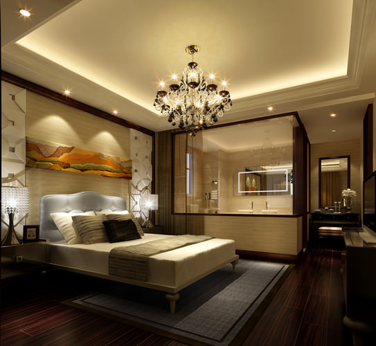 3d bedroom with bathroom luxury cgtrader for Bathroom models images