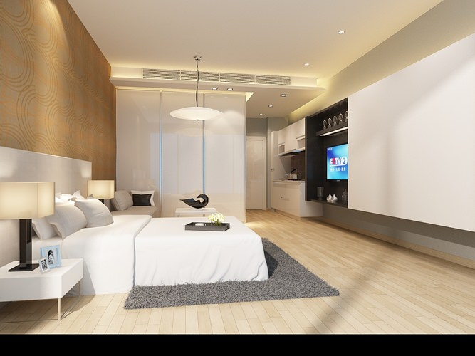 Light bed room 3d model design cgtrader - Beds for small space model ...