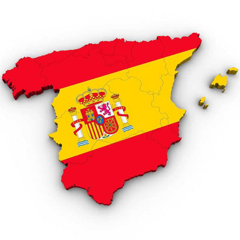 3d Map Of Spain.Map Of Spain 3d Model