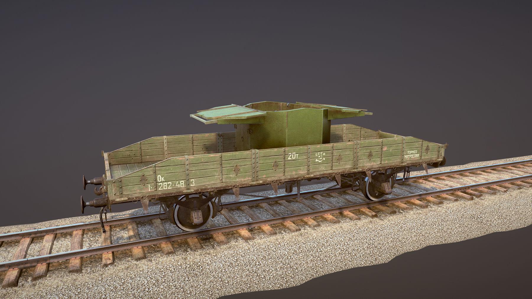 Armored Train SPU-BP railway anti-aircraft platform