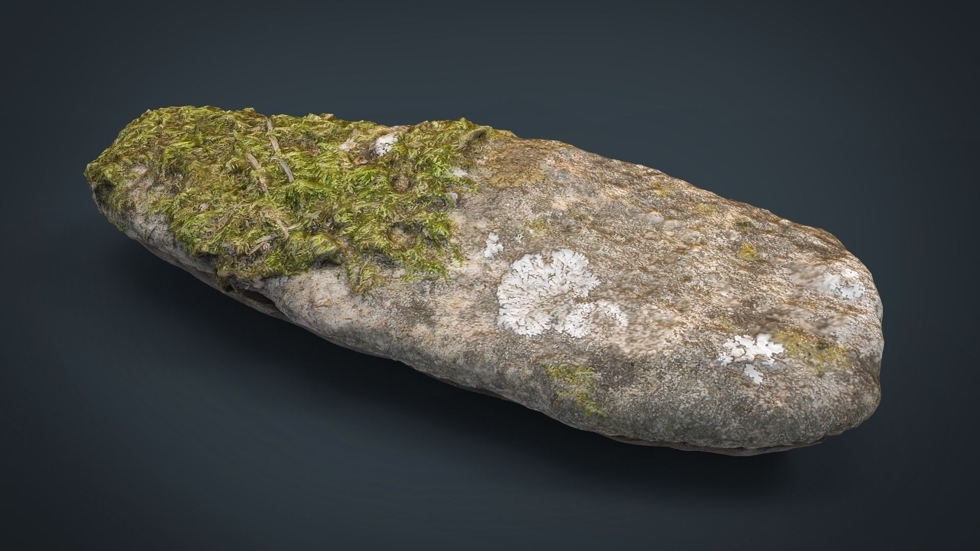 REAL STONE 13 MOSSY HIGH AND LOW POLY 8K