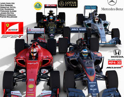 rigged pack f1 cars 2015 3d model