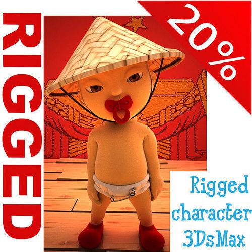 china baby cartoon rigged  3d model rigged max obj mtl ma mb 1