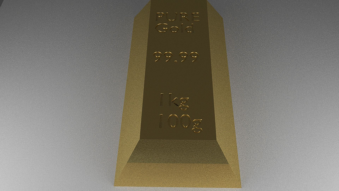 realistic gold bar 3d model obj mtl blend 1