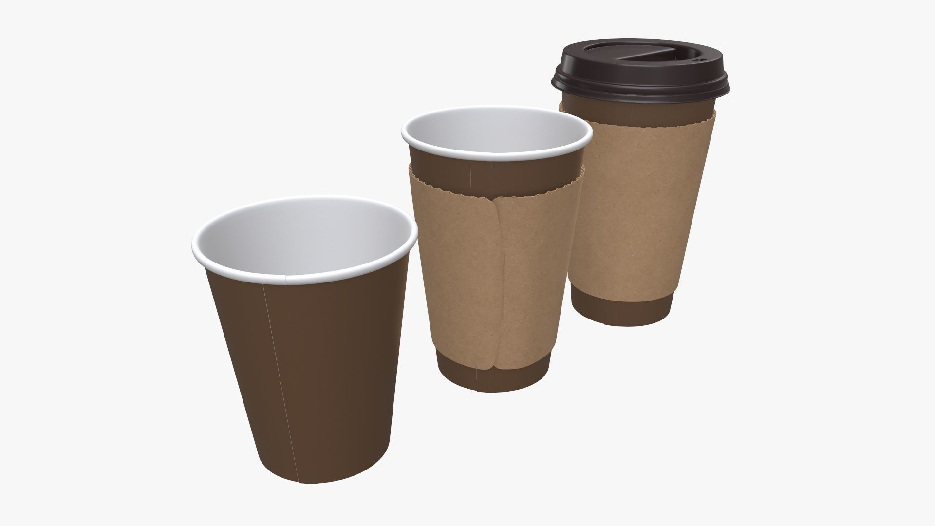 Recycled paper coffee cup plastic lid and sleeve