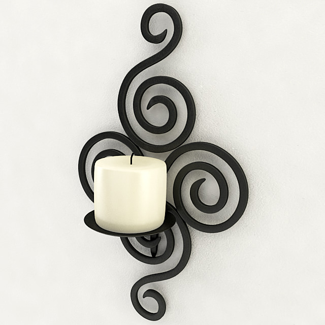 wallmounted iron candle holder 3d model max obj 3ds wrl wrz mtl 4