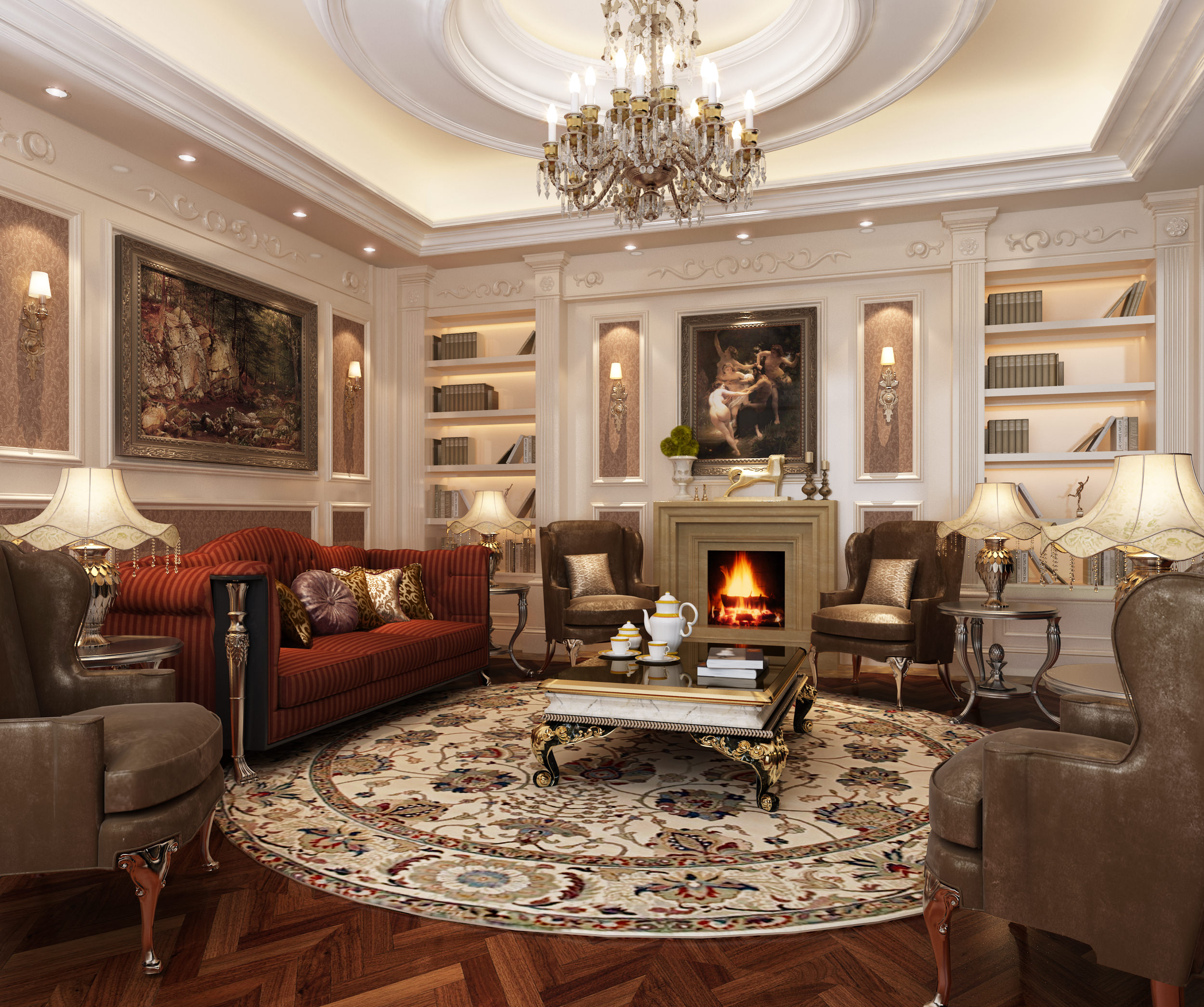 GİRİŞ KAT | SALON Classic-style-living-room-3d-model-max