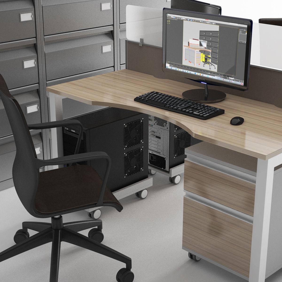Lastest Office Furniture Set 3d Model Highly Detailed Model Of Office