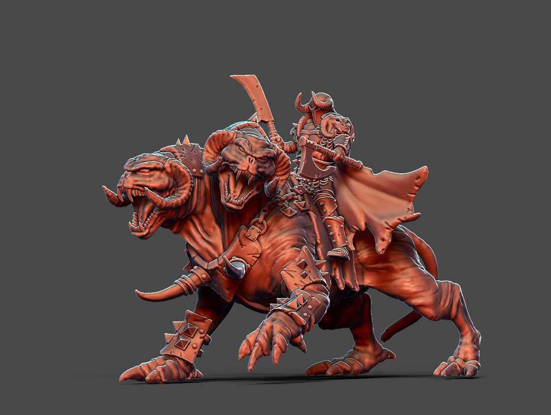 Chaos Warlord with beast 66 mm - 35 mm scale