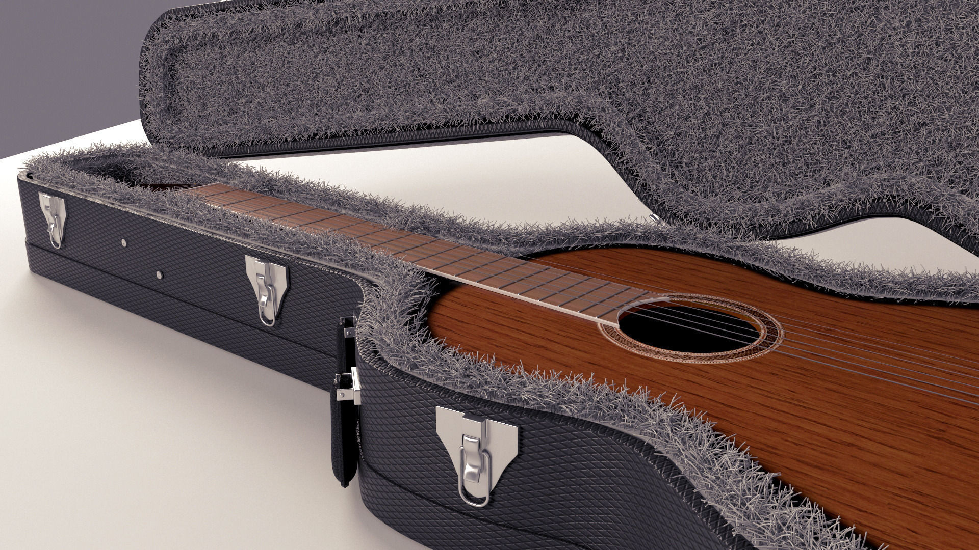 3d classical guitar with case cgtrader