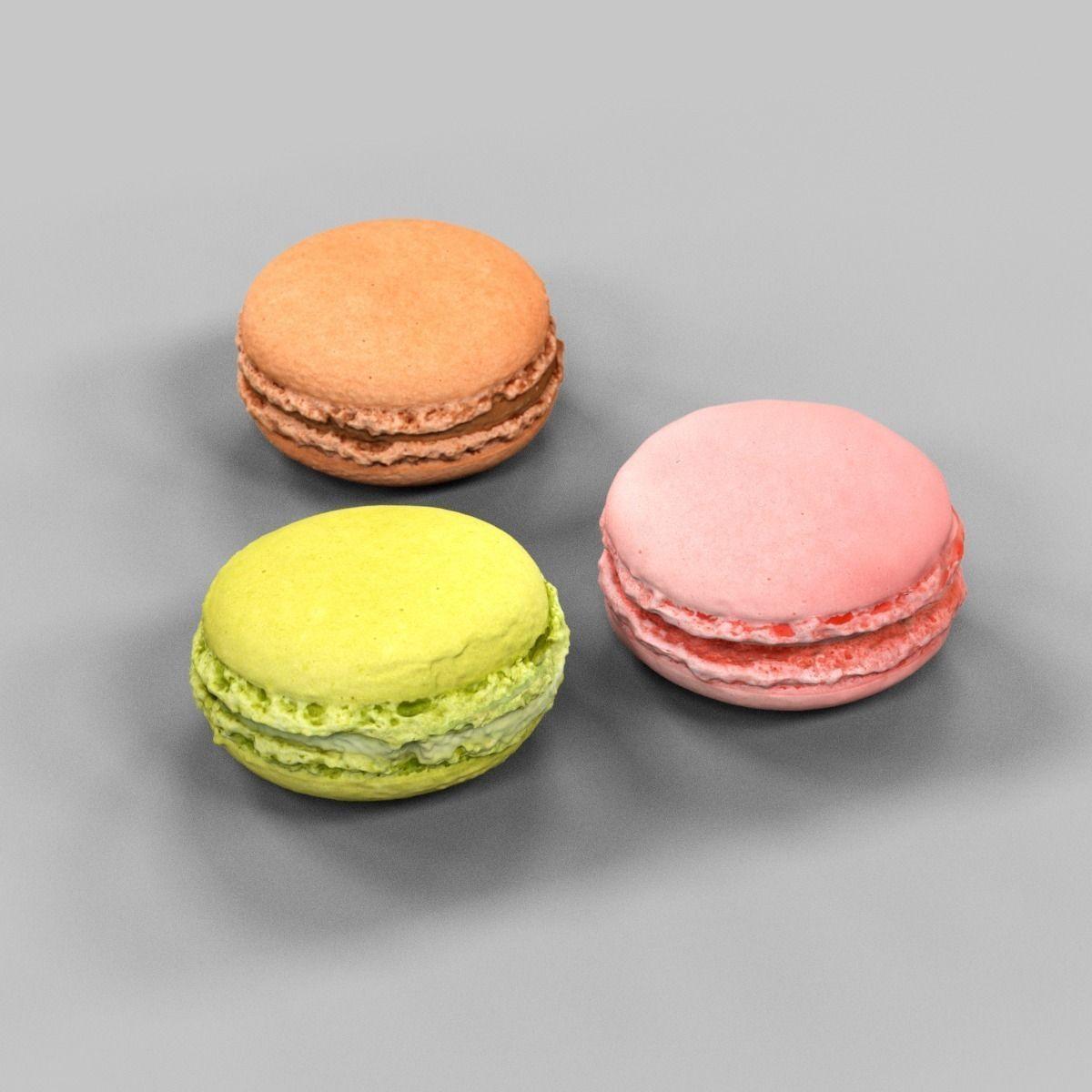 3 Macarons Pink Brown Green