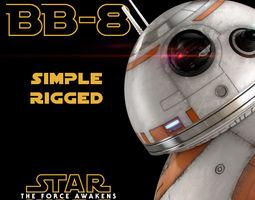 bb-8 star wars droid simple rigged 3d model max obj fbx 3dm
