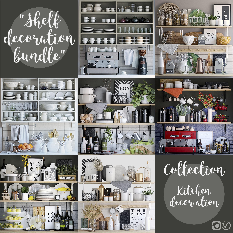 Kitchen shelves decor set