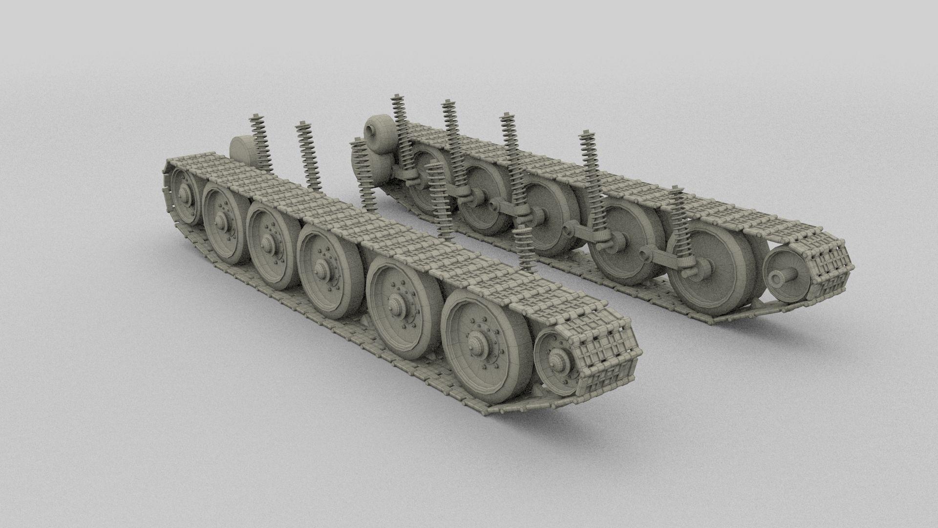 T 34 Tank Tracks And Suspension 3d Model Obj Fbx Stl Blend