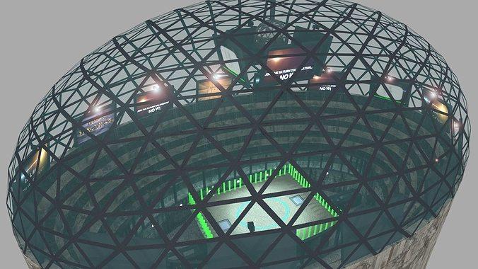 futuristic gladiators arena 3d model low-poly obj mtl lwo lw lws 1