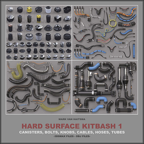 hard surface kitbash library 3d model max obj mtl stl 1