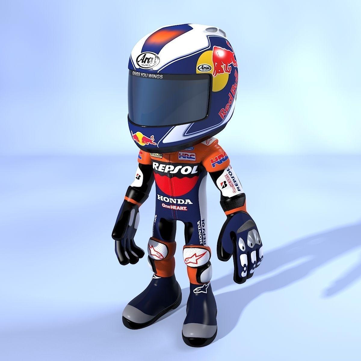 3d model cartoon biker cgtrader