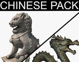 Chinese statues pack 3D model