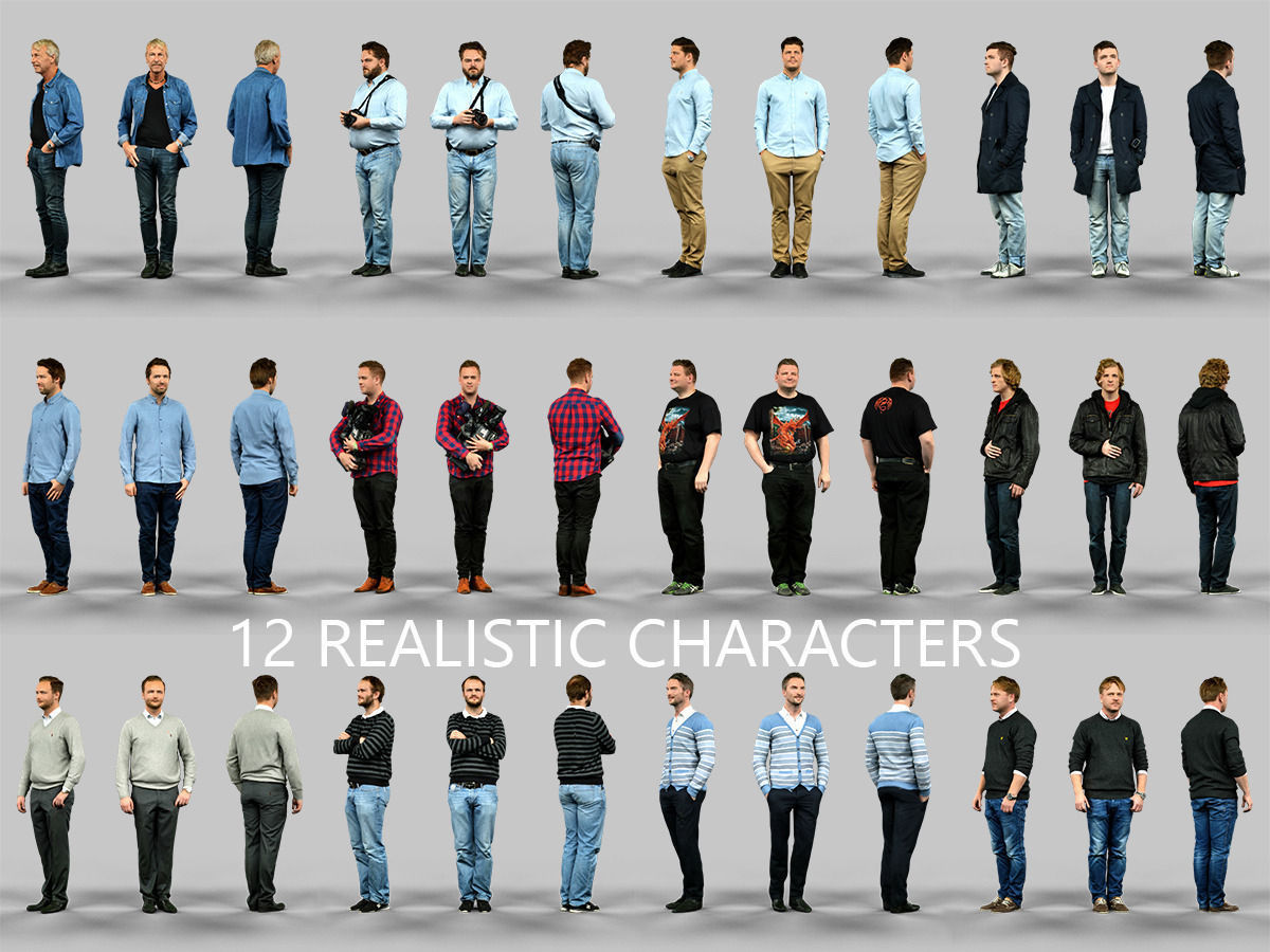 3d 12 realistic male characters cgtrader