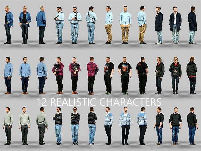 3D 12 Realistic Male Characters | CGTrader