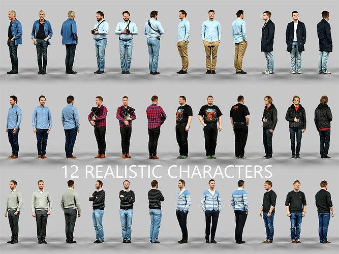 12 realistic male characters 3d model obj fbx mtl 1
