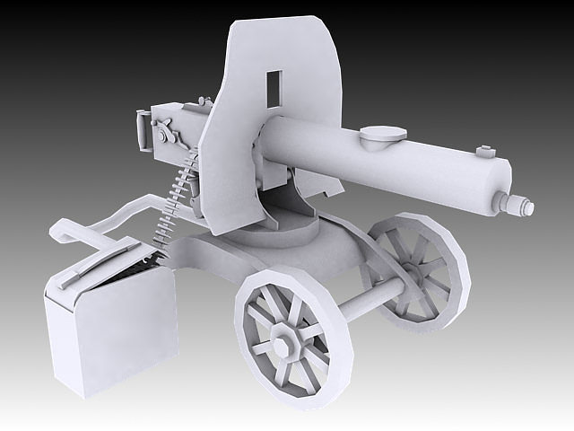 1910 maxim machine gun 3d model max obj 3ds stl wrl wrz 1