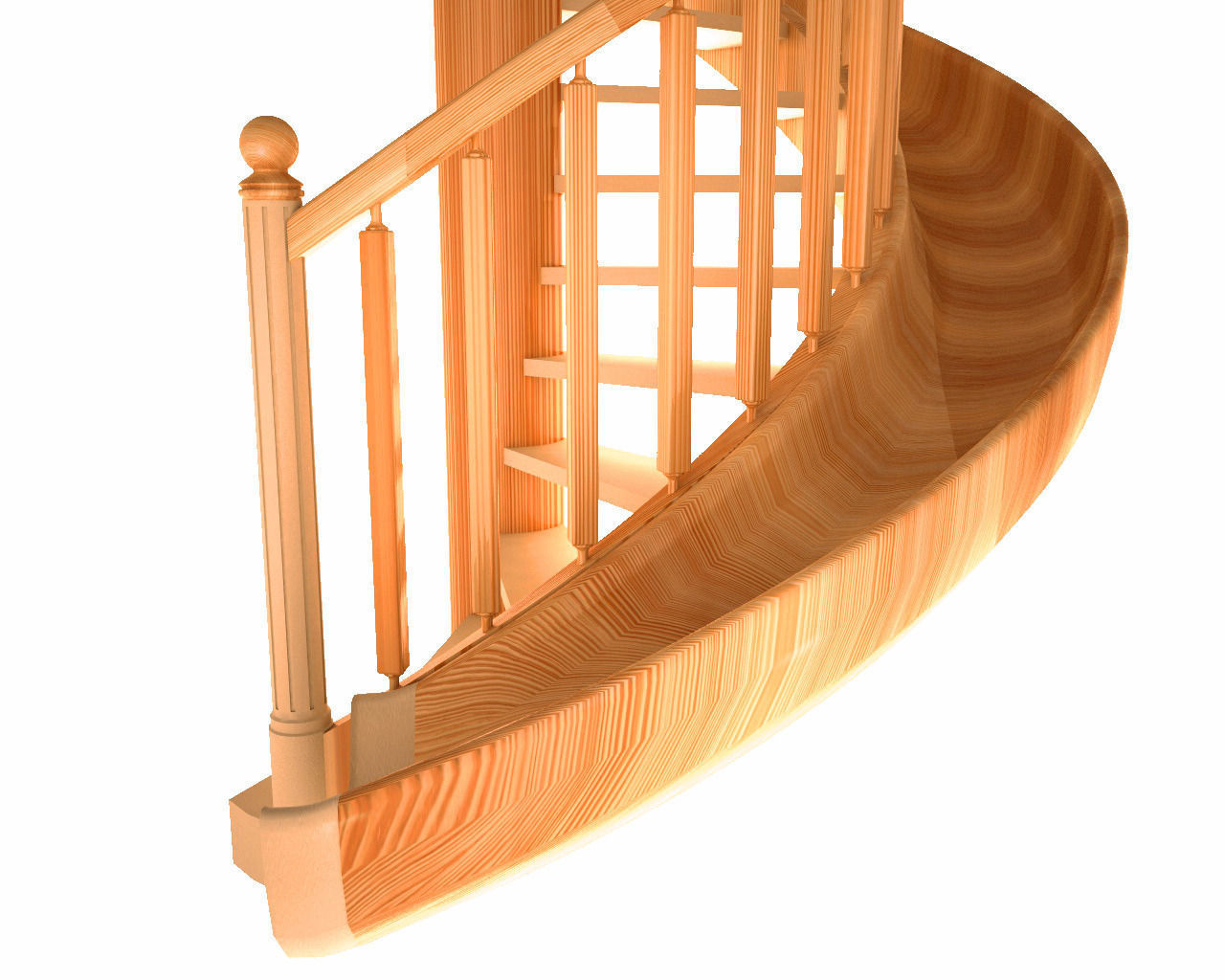 ... Wooden Spiral Staircase 3d Model Obj Mtl 3ds Fbx C4d 2 ...
