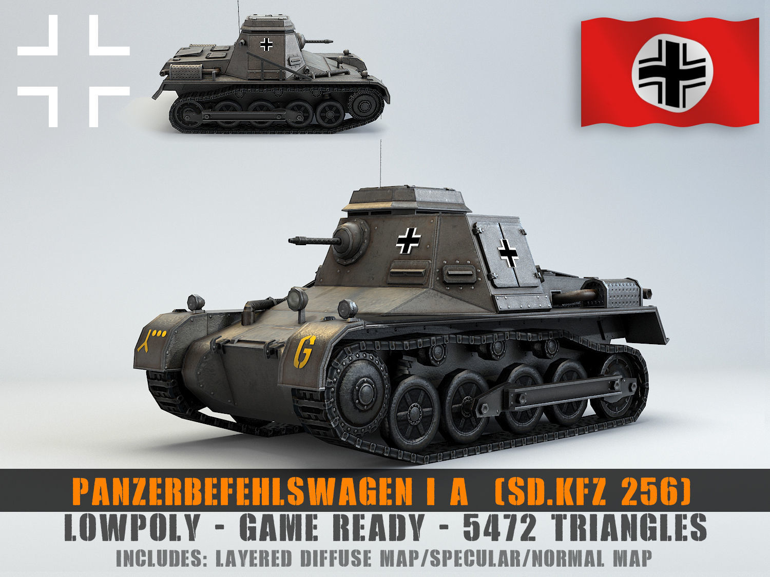 Low Poly  SdKfz 265 Panzerbefehlswagen I A Late