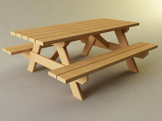 ... Picnic Table 3d Model Max Obj 3ds Stl Wrl Wrz 2