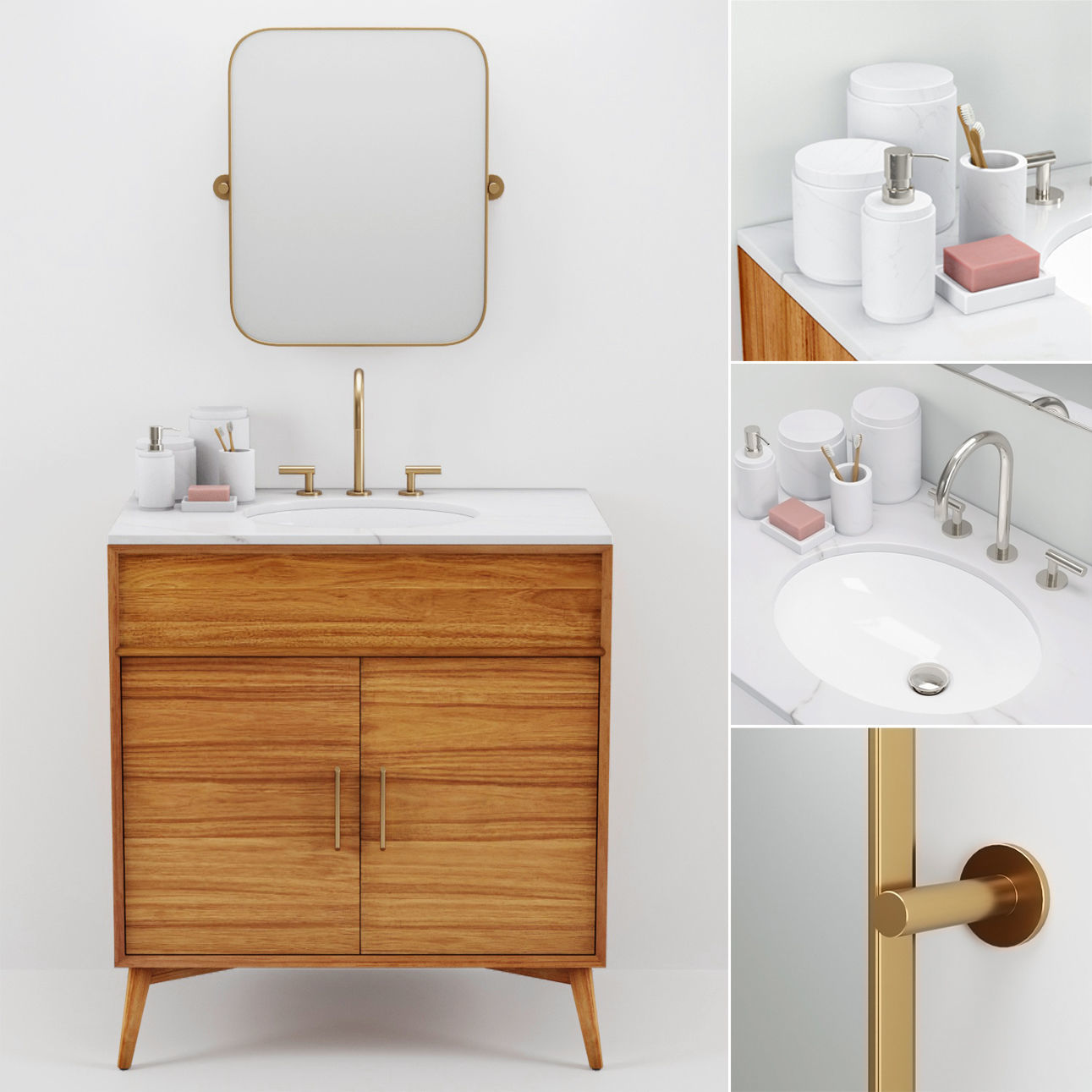 Westelm Mid Century Single Bath Console Mirror 3d Model 1